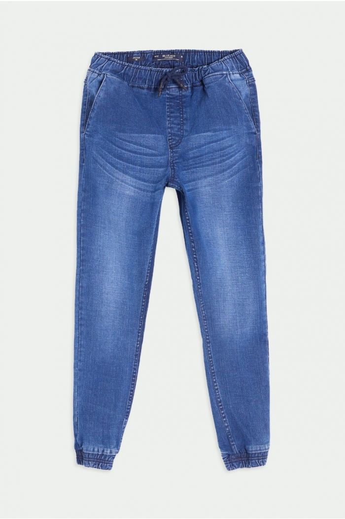 Denim pants with acid washed details on legs