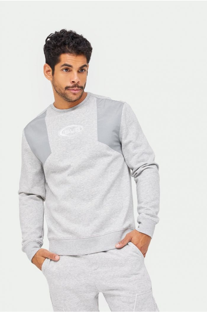 Sweatshirt with elasticated details and contrast fabrics with front print