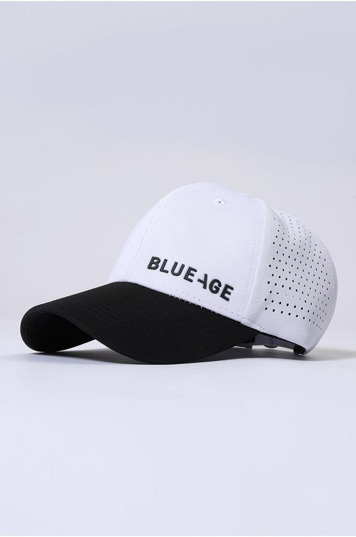 Cap with perforated details and wording embroidery