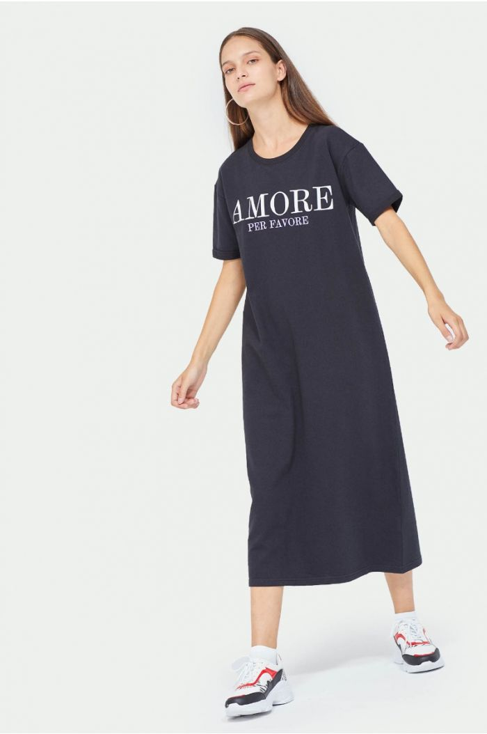 Midi dress with wording print