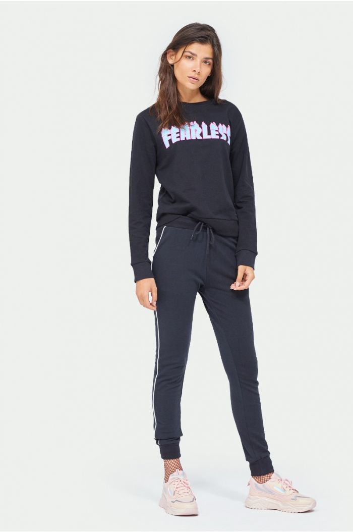 Sweatpants with side lining