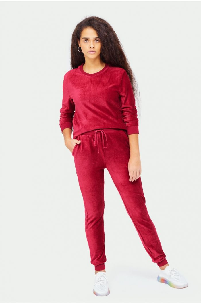 Velvet look plain sweatpants