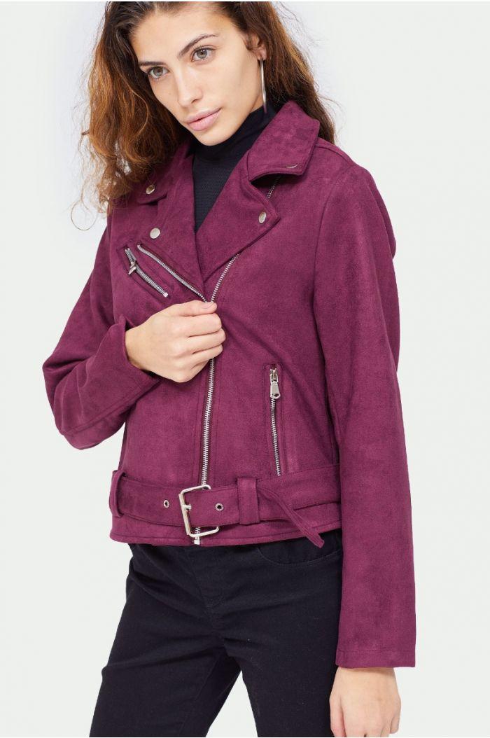Suede look bomber jacket