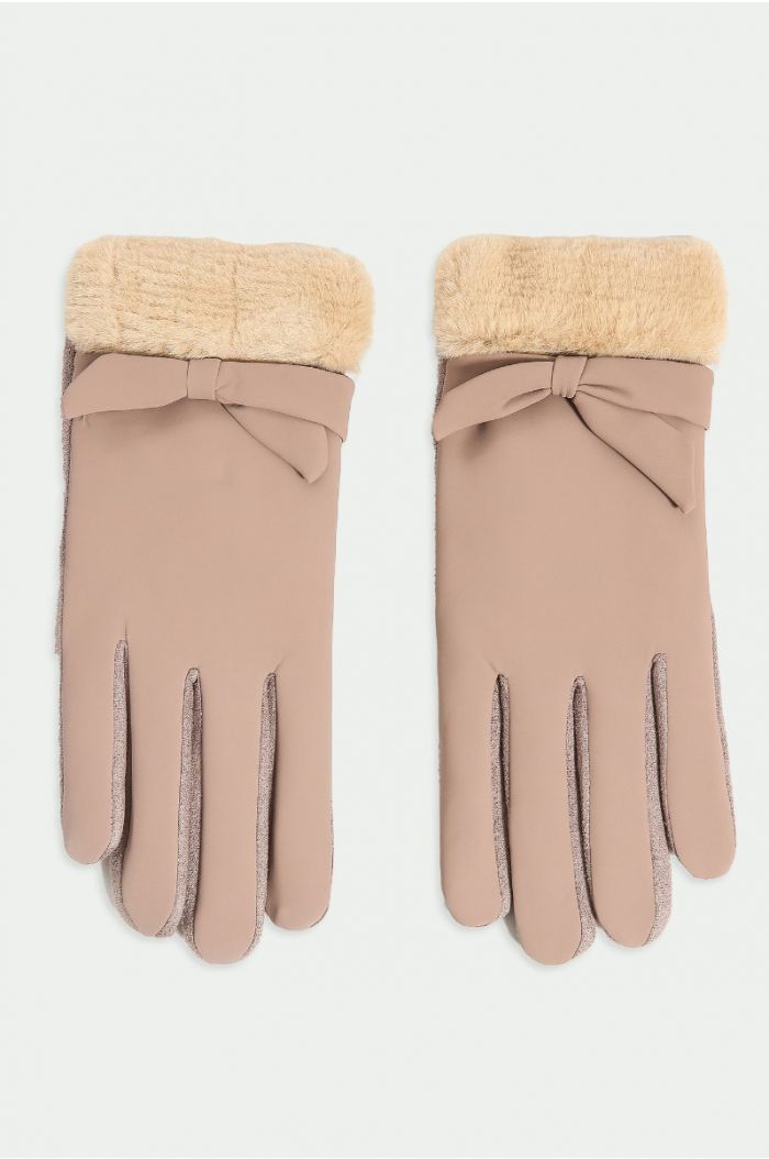 Suede look gloves
