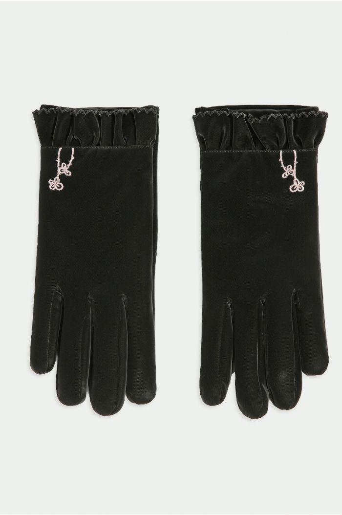 Velvet look gloves