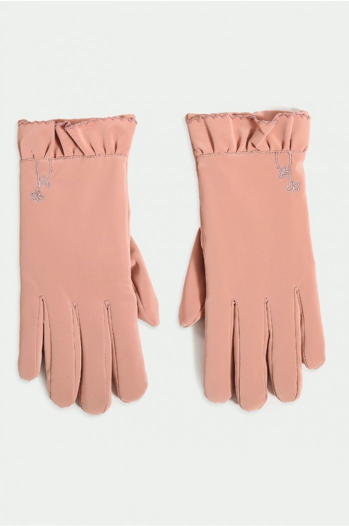 Velvet look gloves
