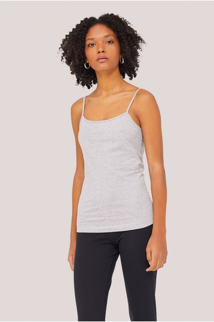 Plain casual tank top with spaghetti straps
