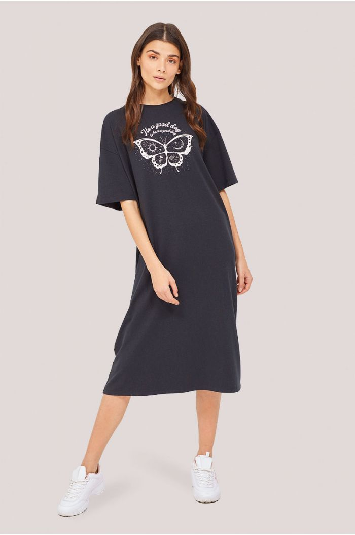 Short sleeves midi dress with front print