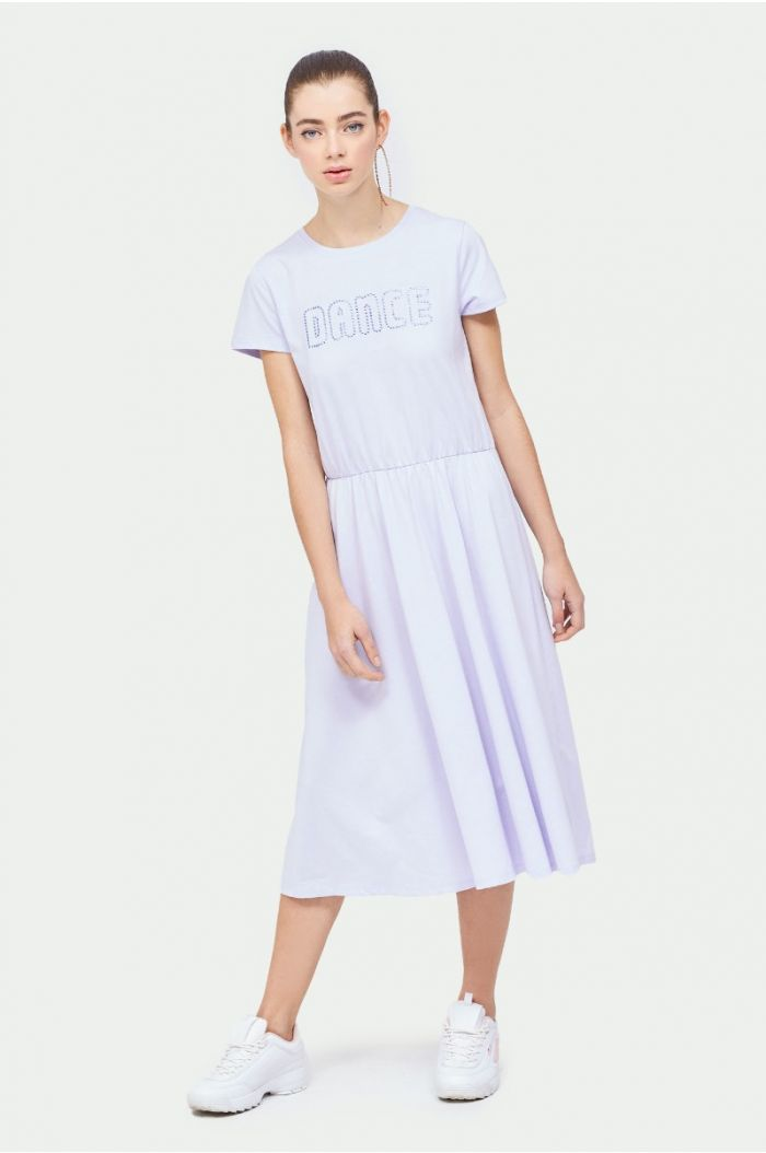 casual midi dress with bejeweled wording