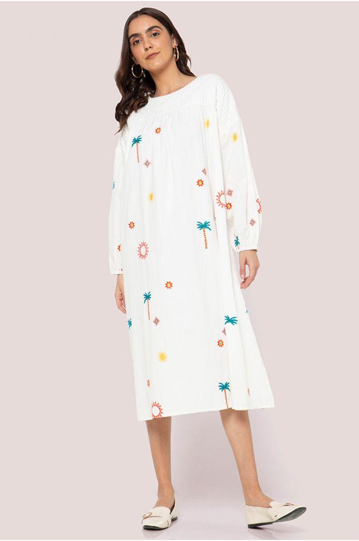 فستان ميدي فضفاض بنمط مطبع