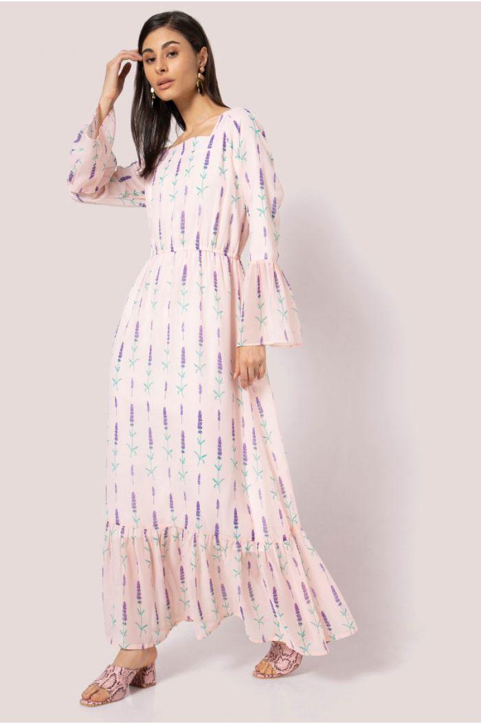 فستان ماكسي فضفاض بنمط مورد