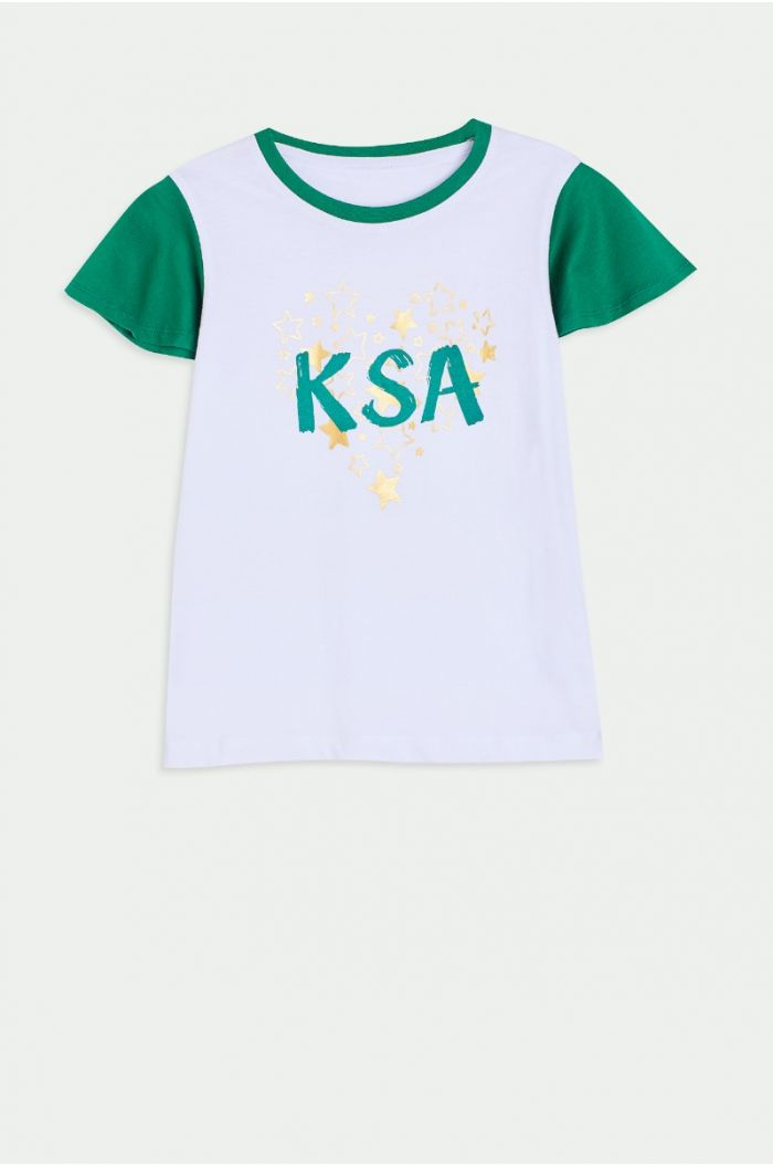 National day T-shirt with wording print