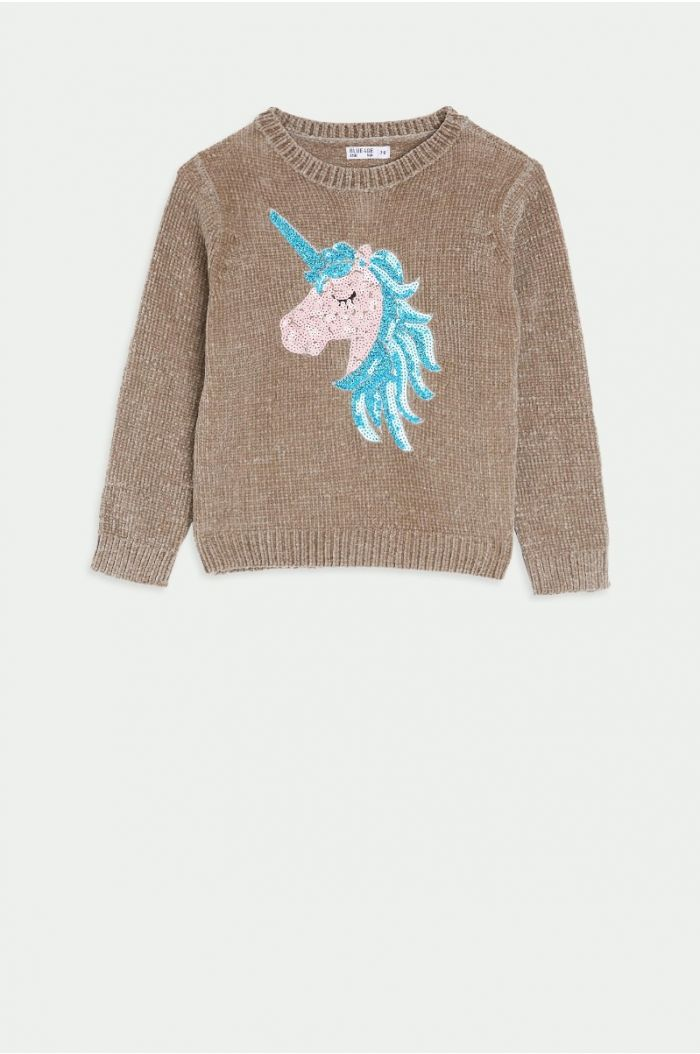 Knitted pullover with sequinned Unicorn print