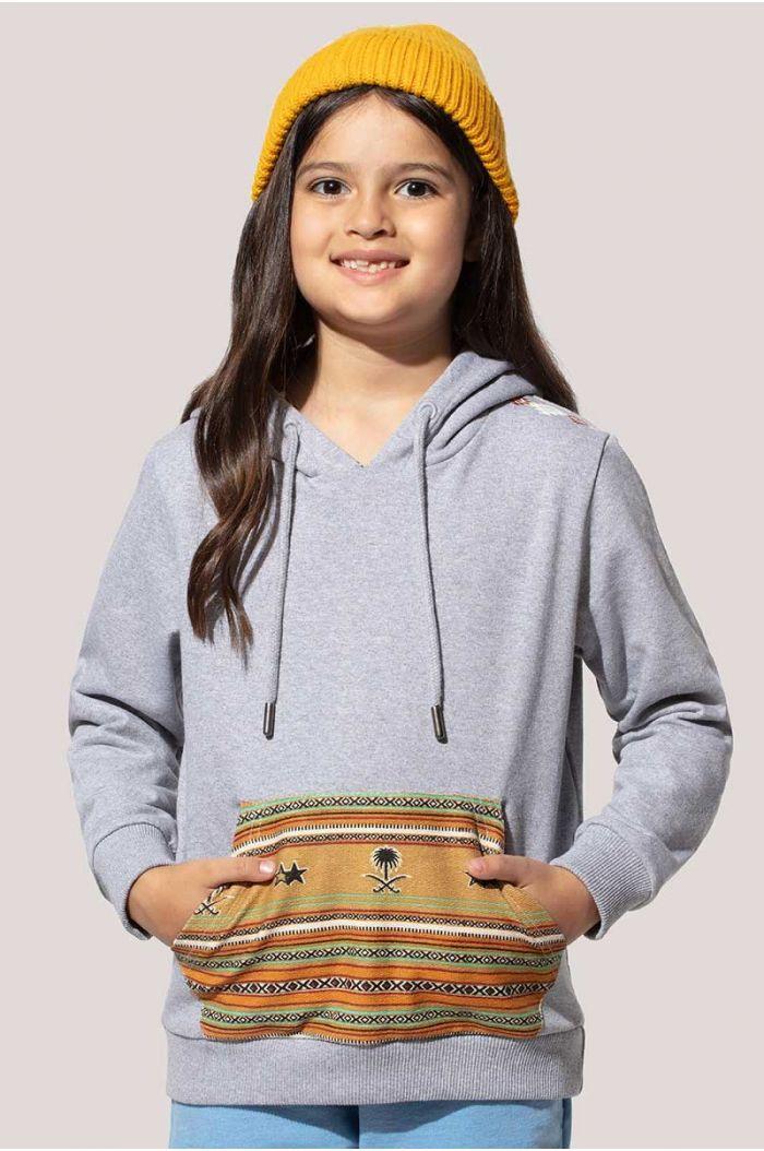 Sweatshirt hoodie with Sadu traditional weave