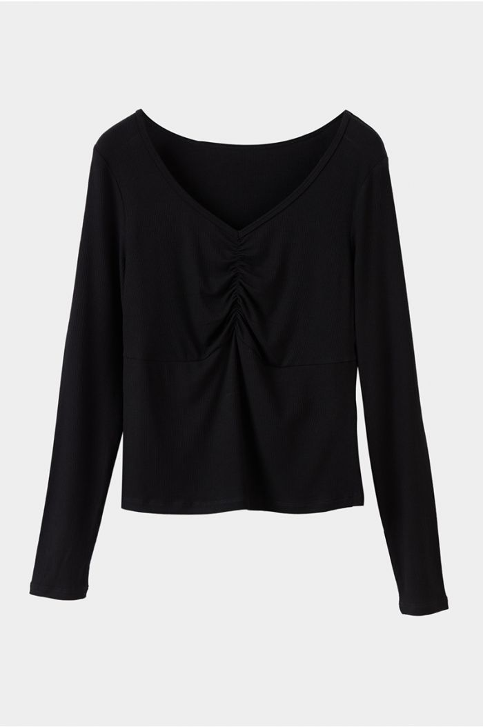 Textured blouse with ruching detail